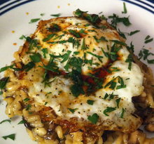 Wild Mushroom Risotto with Fried Eggs Recipe