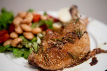 Dukkah and Rosemary Roasted Chicken with Strawberry, Butter Bean and Balsamic Salad Recipe