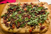 Pizza with Fresh Mozzarella, Radicchio, Prosciutto (or Braesola) and Rosemary. Recipe