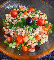 Pearl Couscous Salad with Tomatoes, Peppers, Mint and Cilantro Recipe
