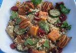 Saffron Couscous with Roast Autumn Vegetables, Pecans, Cranberries and Figs Recipe
