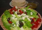 Horiatiki Salad on Fresh Garden Greens Recipe