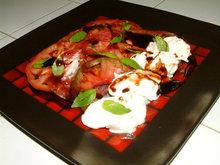 Locally Grown Heirloom Tomato Salad with Fresh Burrata Cheese and Coppa. Recipe