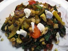 Warm Swiss Chard Salad in Brown Butter with Sauteed Vegetables, Goat Cheese, and Walnuts Recipe