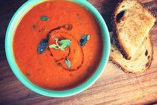 Homemade Tomato Soup with Truffle Grilled Cheese Recipe
