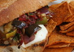 Mediterranean Vegetable Sandwich with Sundried Tomato Pesto and Fresh Mozzarella Recipe