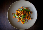 Brown Butter-Roasted Sweet Potatoes with Arugula and Bacon Recipe