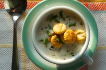 New England Clam Chowder with Old Bay Oyster Crackers Recipe