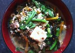 Red quinoa and tofu miso bowl. Recipe