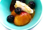 Honey Roasted Local Peaches with Marscapone & Blackberries Recipe