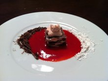Chocolate Pasta Napolean with Raspberry Coulis and Whipped Cream Recipe
