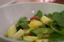 Radish & apple salad with an orange butternut oil dressing. Recipe