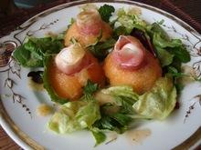 Melon, Prosciutto, and Mozzarella Appetizer with a Mint Melon Dressing Recipe