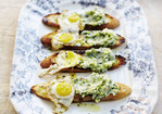 April Bloomfield's Toasts with Ramp Butter and Fried Quail Eggs Recipe