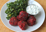 Lamb, Beet, and Cracked Wheat Meatballs with Cucumber Yogurt Sauce Recipe