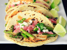 Charred Asparagus Tacos with Creamy Adobo and Pickled Red Onions Recipe