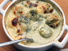 Creamy Brussels Sprouts Gratin with Blue Cheese Recipe