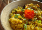 Beyond Curry: Khichdi with Eggplant Fritters Recipe