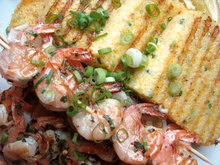Grilled Shrimp with Chive Polenta Cakes Recipe
