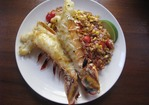 Sunday Supper: Grilled Lobster Tails with Warm Farro, Roasted Corn and Tomato Salad Recipe