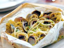 Marc Vetri's Spaghetti in Parchment with Clams and Scallions Recipe
