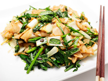 Vegan: Bok Choy with Chives, Black Bean Sauce, and Chow Fun Recipe
