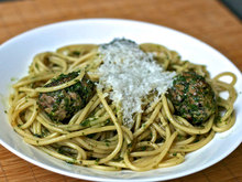 Dinner Tonight: Pasta with Green Meatballs and Herb Sauce Recipe