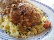 Braised Chicken with Apricots, Green Olives, and Herbed Couscous Recipe