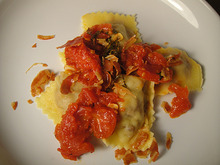 Cook the Book: Pork Agnolotti with Tomato Marmellata and Crisp Pancetta Recipe