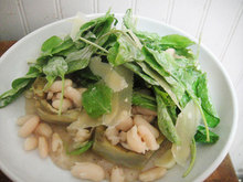 Warm Artichoke Heart Salad with White Beans, Arugula, and Salsa Verde Recipe