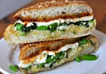 Garlicky Broccoli Rabe, Fresh Mozzarella, and Tomato Jam Sandwich from Cutty's Recipe