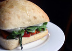 Dinner Tonight: Broccoli Rabe, Roasted Red Pepper, Mozzarella, and Arugula Sandwich Recipe