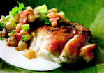 Cook the Book: Pan-Roasted Striped Bass with Tunisian Chickpea Salad and Yogurt Sauce Recipe