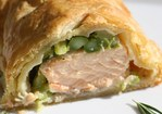 French in a Flash: Salmon en Croûte with Rosemary and Asparagus Recipe