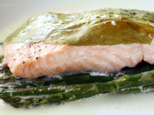 French in a Flash: Salmon with Sorrel and Asparagus en Papillote Recipe
