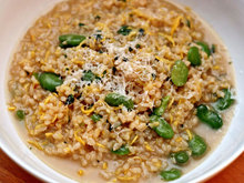Dinner Tonight: Brown Risotto with Summer Squash, Favas, and Mint Recipe