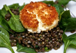 Dinner Tonight: Spinach Salad with Lentils and Crispy Goat Cheese Recipe