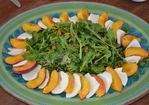 Arugula Salad with Roasted Peaches, Pistachios and Mozzarella Recipe