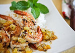 Sautéed Shrimp with Warm Tropical Fruit Salsa Recipe