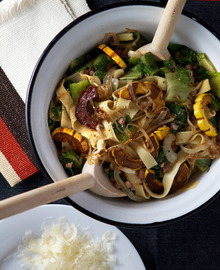 Recipe: Fettucini with Balsamic Delicata Squash & Bitter Greens Recipe