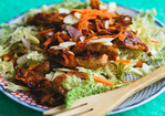 Vegetarian Recipe: Sesame-Ginger Soy Curls with Napa Cabbage Salad Recipe