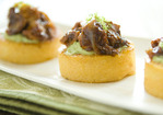 Seared Cheddar Polenta Rounds with Barbecued Chicken and Avocado Sauce Recipe