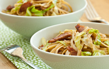Linguine with Wilted Cabbage and Ham Recipe