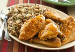 Baked Maple Chicken with Wild Rice and Bartlett Pear Pilaf Recipe