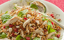 Hearty Rye Berry Salad with Shredded Chicken Recipe
