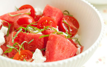 Watermelon Salad with Tomatoes, Goat Cheese and Basil Recipe