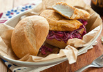 Cornmeal-Crusted Halibut Sandwich with Creamy Coleslaw Recipe