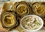 Steamed Artichokes with Creamy Walnut Dip Recipe