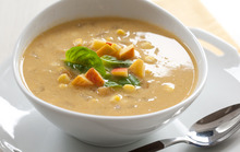 Sweet Corn Soup with Peaches Recipe