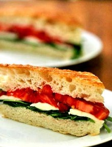 Arugula, Mozzarella, Tomato on Focaccia Recipe